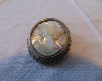vintage silver abalone shell cameo pin woman profile