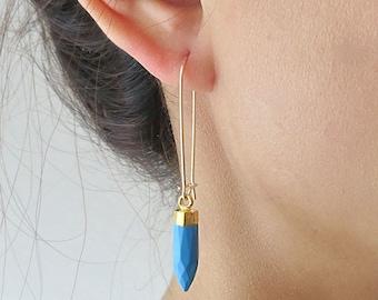 Long Gold Turquoise Earrings - Gold Dangle Earrings