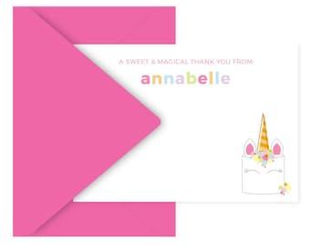 unicorn cake notecards - personalized