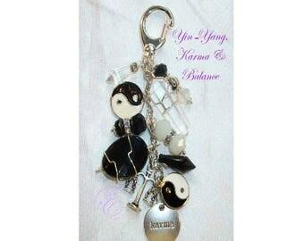 Karma / Balance Charm Clip for Purse / Bag / Jeans/ Car Charm Clip - Quartz Point, Black Obsidian, Yin-Yang