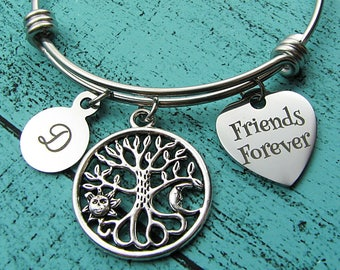 friends forever bracelet, best friend gift, personalized friendship jewelry, bff gift for her, gift for friend birthday, stackable bracelet