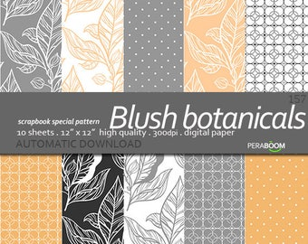 Botanical Blush Digital Paper, Commercial use, Leaves Digital Paper, Pink Gray Digital Paper Digital Wedding Invitation Paper Peach Patterns
