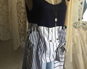 Upcycled dress, funky hippie boho, artsy tattered fringy, mori girl, nautical look