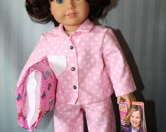 American Girl Flannel PJs Pajamas with sleepover pillow plus more