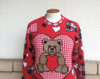 Vintage 80s Teddy Bear and Heart Sweater Pullover