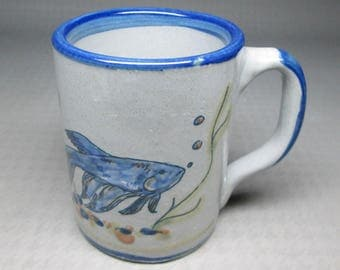 Louisville Stoneware mug with decoration of tropical fish