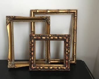 Gorgeous Set of 3 Ornate Empty Wall Frames - Vintage Baroque Relic - Chunky  Wood Gesso