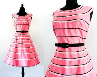 Vintage 1950s dress . Good & Plenty .  candy pink 1950s striped dress .  striped party dress .  lg / xl