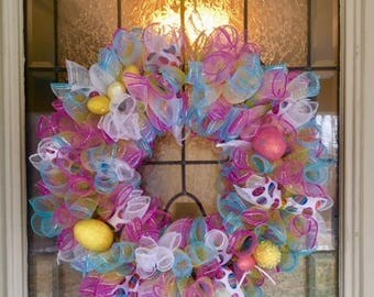 Easter Mesh Ribbon Wreath