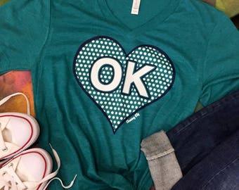 OK Oklahoma heart with polka dots Super Soft Tee t-shirt shirt v-neck