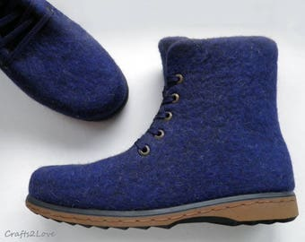 Outdoor felted boots with rubber soles, felted wool, ankle boots, blue felted wool shoes, Organic men shoes Warm woolen shoes, Made to order