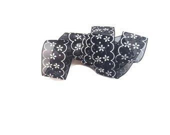 Flower black ribbon organza trim ribbon craft by the yard trim see through ribbon printed