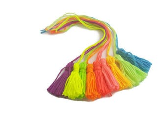 Tassel neon thread sewing embroidery bright thread tassels for crafts UK dangle yarn cotton charm floss handmade charm