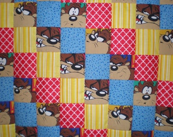 Upcycled Vintage Looney Tunes Taz Patchwork  Quilt