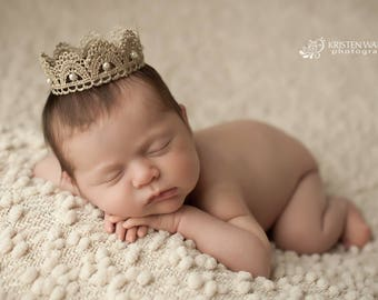 Newborn Crown, Sweetest Little Gold and Pearls Lace Crown, Newborn Photography Prop, Baby Crown, Infant Crown, Pink