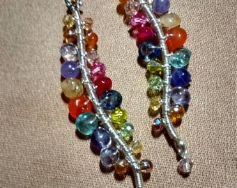 Multi colored drop earrings.