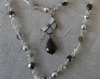 Gray and Black Butterfly Necklace