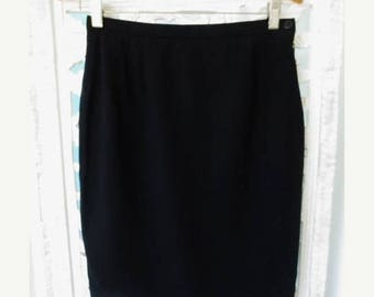 30% OFF SALE GEORGIO Armani Skirt Black Wool Authentic Italian Designer Women's Clothing Size 38 Small