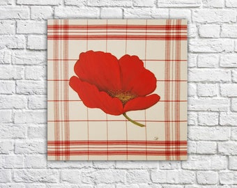 Poppy poppy on trend red Plaid cloth canvas painting French hygge shabby chic trend