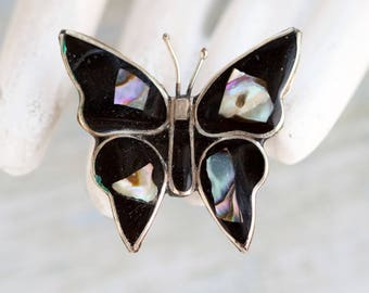Butterfly Lapel Pin - Abalone and Alpaca Silver Brooch - Made in Mexico