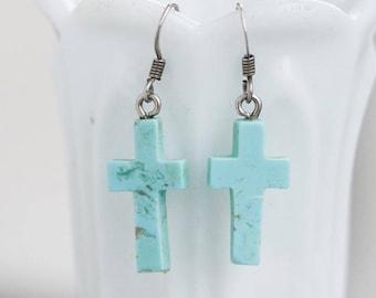 Turquoise Cross Earrings - Small Dangle Earrings