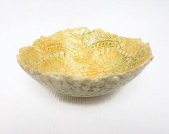 Ceramic bowl lace bowl pottery bowl ceramic doily bowl ceramic dish hand build clay bowl ceramic scale