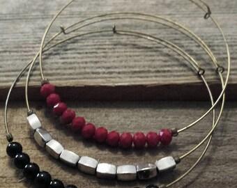 Expandable Beaded Bangle Bracelets- set of 3- adjustable bangle, stacking bracelets