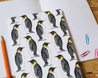 Penguin Notebook -  blank notebook- bird notebook - a5 notebook - cute notebook - penguin gift - hygge - bird journal - penguin