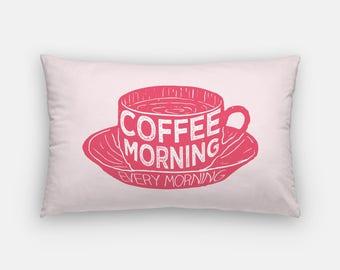 coffee pillow | pink coffee decor | coffee home decor | lumbar pillow | pink kitchen coffee pillow | coffee gift | coffee morning pillow