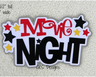 Die Cut Movie Night Page Title Scrapbook Page Embellishments for Card Making Scrapbook or Paper Crafts