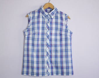 Vintage 1960's/70's Blue Plaid Sleeveless Button Up Shirt M