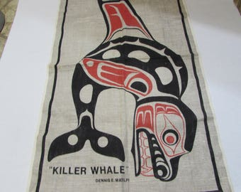 Linen Tea Towel - Killer Whale - Dennis E Matilpi - textilimpex Made in Poland - free shipping