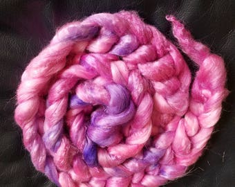 """2oz 100 % tussah silk roving hand dyed for spinning yarn making needle felting fiber arts supplies """"Party Girl"""" pink and purple shades"""