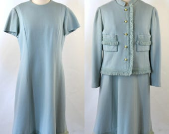 1960s Pure Wool Light Blue Two Piece Dress Suit, Jacket by Rona
