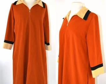 1970s Burnt Orange, Yellow and Black Velour Robe, Loungewear, Nightgown Sack Dress, House Dress by Vanity Fair