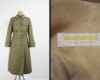 Vintage Brooks Brothers Trench Coat Double Breasted Khaki 1970s Long Belted - Women's Size 4