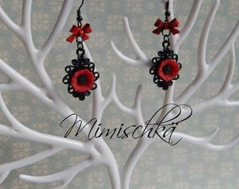 earrings little red poppy