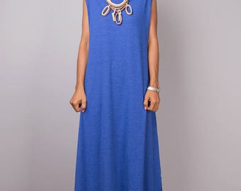 Halter dress, a line dress, maxi dress, sleeveless dress, long blue dress, blue dress, tube dress