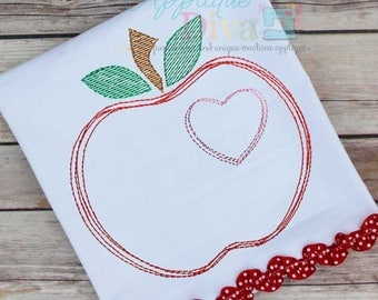 Vintage Stitch Sketch Scribble Apple Digital Machine Embroidery Design