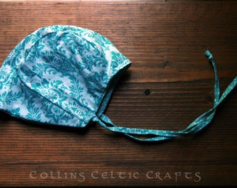 Handmade Baby girl reversible bonnet sun hat summer size 0-3 months turquoise and white