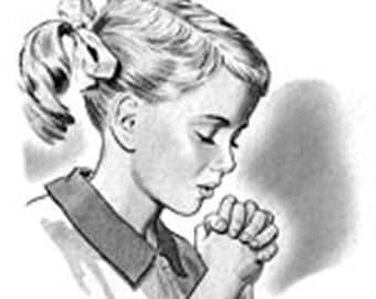 Little Girl Praying - Digital Image - Vintage Art Illustration