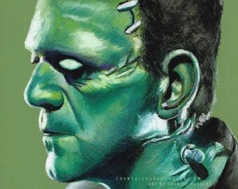 Frankensteins Monster, Original Pastel Drawing by Chantal Handley