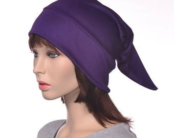 Deep Purple Sleep Cap Traditional Pointed Nightcap  Jersey Knit Night Cap Purple Elf Hat  Unisex Poor Poet