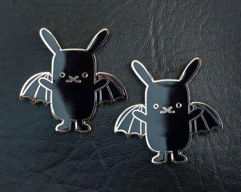 Locker magnet bunny bat fridge magnet, Kawaii bat kitchen magnet, Cute rabbit magnet, Teacher gift, Black Gothic bunny, Flat Bonnie