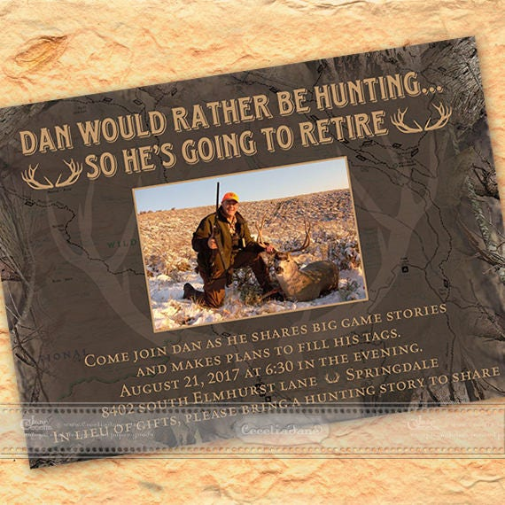 retirement party invitations, hunting retirement party, camoflage retirement party, camo birthday party, camo bachelor party, IN586