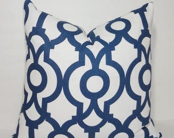 FALL is COMING SALE Inventory Reduction Navy Blue & White Geometric Print Pillow Cover Decorative Throw Pillow Cover Size 18x18