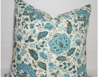 FALL is COMING SALE Overstock Sale Blue Green Ivory Floral Vine Pillow Cover 20x20