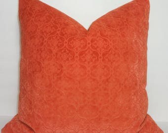 Beautiful Pillow Cover Orange Velvet Stamped Damask Print Choose Size
