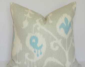 Magnolia Blue Aqua Beige Ivory Ikat Print Pillow Cover Home Decor by HomeLiving Throw Pillow Cover Size 18x18
