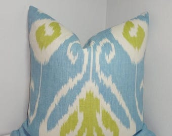 SPRING FORWARD SALE Kravet Bansuri Capri Ikat Pillow Cover Blue Green White Decorative Linen Ikat Pillow Cover Choose Size
